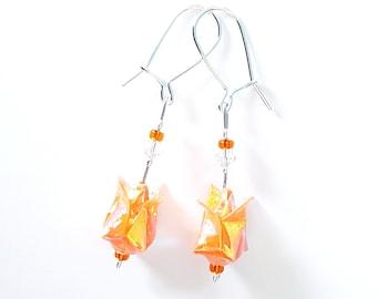Origami iridescent orange lotus - Earrings