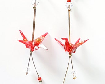 Wild red chiyogami cranes - Earrings