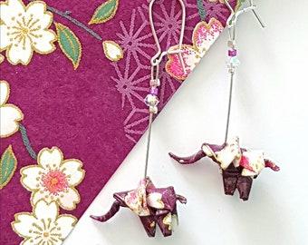 Purple elephants - Origami earrings