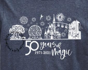 Magic Kingdom Castle 50th Anniversary SKYLINE SVG 50 Years of Magic Digital File Animal Kingdom Hollywood Studios Cricut Epcot Sublimation