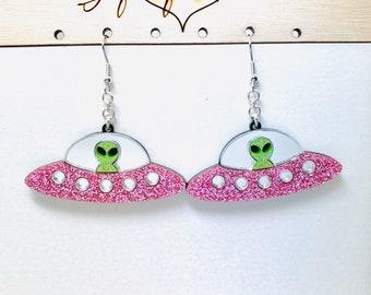 Iridescent Alien UFO Earrings  Science Fiction Dangles
