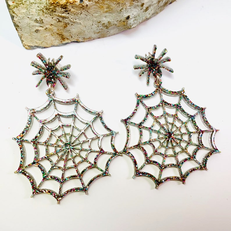 Glitter Halloween Statement Earrings with Sterling Silver Posts Spider Cobweb Acrylic Earrings