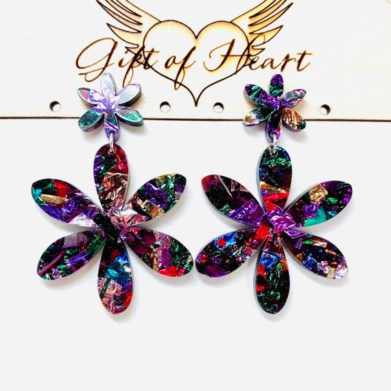 gift glitter laser cut CHRISTMAS girlfiend neon red sterling silver ear hook Large STATEMENT acrylic HEART earrings
