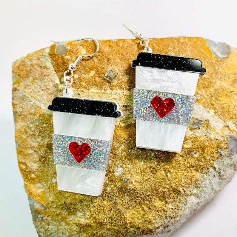 Laser Cut Coffee Glitter Statement Earrings Cup of Java Pierced or Clip-On Cup of Latte Acrylic Earrings