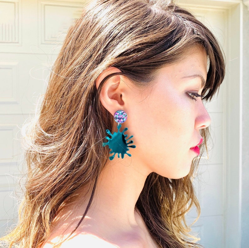 Teal Splat Acrylic Earrings Abstract Statement Earrings with Sterling Silver Posts