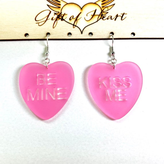 RIDE OR DIE Valentines Day laser cut acrylic lavender candy hand painted conversation heart dangle earrings with crystals
