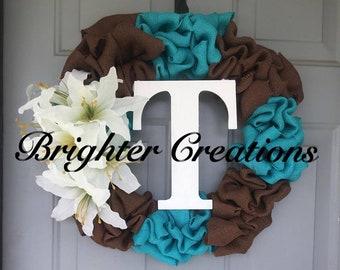 Aqua and Brown Burlap Wreath