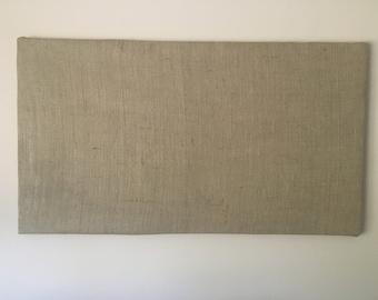 "Large Burlap Magnet Board (20""H x 36"" L x 1"" W), natural, rustic, memo board, photo display, travel magnet, office organizer, wedding"