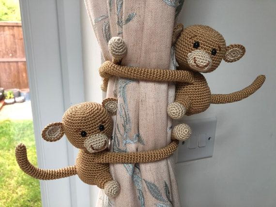 Monkey curtain tie back, cotton yarn crochet monkey, amigurumi ... | 427x570