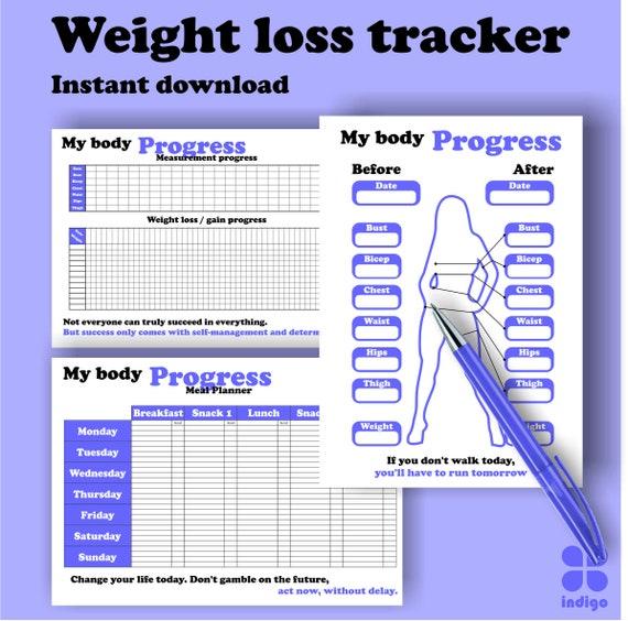 printable weight loss tracker progress chart bullet etsy