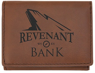 Dark Brown Laserable Leatherette Trifold Wallet (3 x 4 )