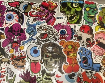 50 Horror Stickers, Horror Stickers, Scary Stickers, Laptop Stickers, Stickers Laptop, Sticker Pack, Sticker Bomb, Cool Stickers