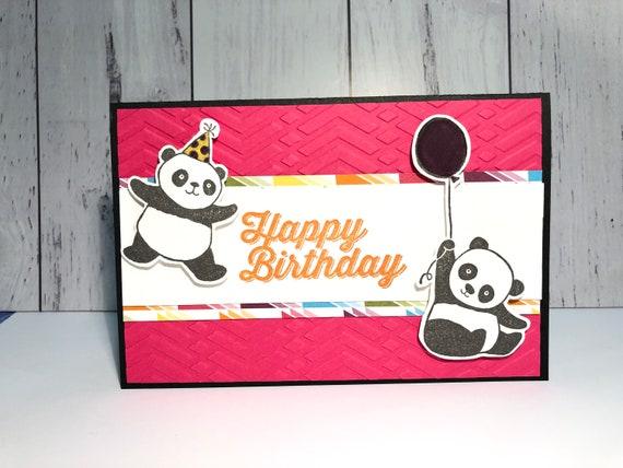 Stampin up Handmade party panda happy birthday card  Free shipping within  Australia