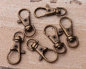 15pcs Antique Brass Swivel Clasp 32 10mm Snap Hook Large Metal Lobster Clasp Leatherware Accessories Bag Hardware