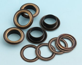 hole 10mm Large Eyelets with washer 50sets 16mm Bronze Round Grommet Eyelets for Sewing Leather Hardware Craft Canvas Making