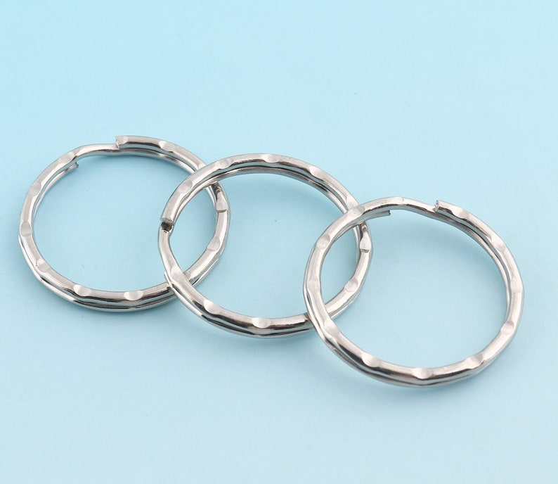 Silver Key Ring O Ring Large Key Fob Ring 15pcs 32mm Metal Split Ring for Key Chain Wholesale Key Ring Findings