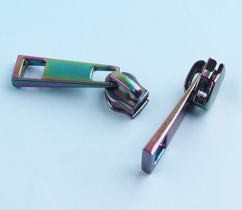 Size #5 Silver Zipper Puller Or Pendant 6pcs Leather Zip Puller Metal Zipper Fastener Slider For Zip head Purse Making Hardware