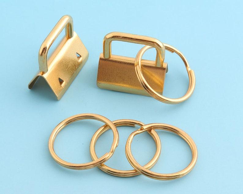 1Key Fobs Hardware Golden Key Ring Ribbon Key Fobs Key Chains-10pcs-Key Lanyard Metal Key Wristlet Key Strap Key Fobs Hardware