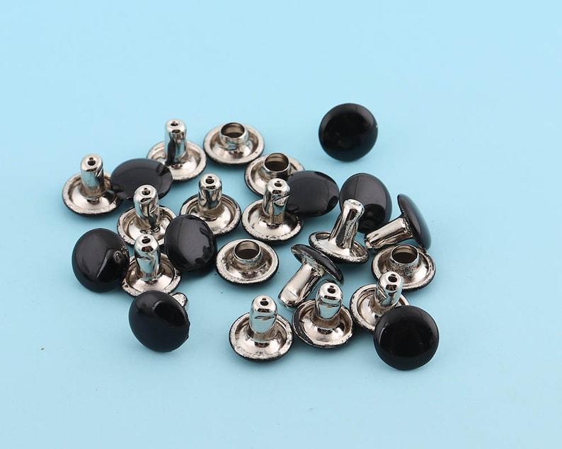 50sets 8*7mm Black Rivets Metal Grommet Rivet Button Double Capped Rivets Double Head  Purse Notions Rivet Studs for Bag Belt