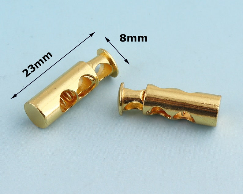 4mm Metal Cord Lock Gold Toggle Cord Stopper Cord Toggle Lock Rope Lock Buckle Purse Closures or Embellishment