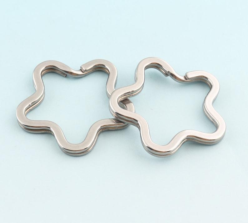 6pcs 35mm Stainless Steel Key rings Star Shape Key Ring Silver Jump Ring Metal Split Ring for Key Chain Wholesale Key Ring Findings