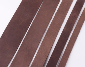 Natural Leather Strips 15-50mm(W) Charcoal Cowhide Leather Strap Bag Straps Genuine Leather Handles Belt Straps Soft Leather Supplies