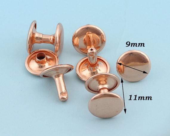Studs Rivets 50pcs100Ppcs 9*10mm Rose gold Rivets Metal Button Double Head Rivets Purse Notions Studs for Bag Belt