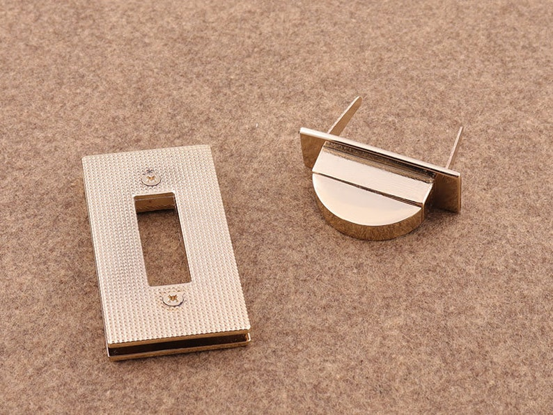2pcs 58*30mm Light Golden  Purse lock Metal Bag Lock Latch Lock Twist Purse Turn Lock Clutch Lock Leather Hardware Accessories