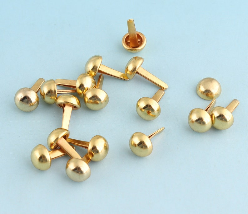 200pcs 6mm Purse Feet Gold Nailheads Spots Round Spots Cone Spots Nailheads Studs  for Bag Belt Leather Craft Hardware Accessories