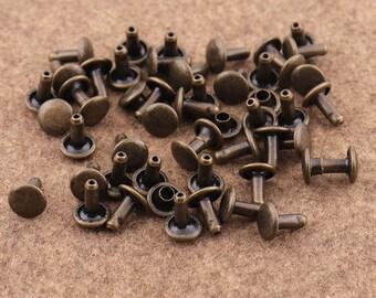 50sets 8mm Mini Antique Bronze  Rivets Metal Button Double Capped Rivets Double Head  Purse Notions Rivet Studs for Bag/ Belt Leather Craft