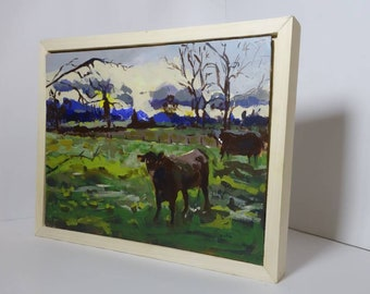 Original plein air painting done in acrylics with a pinewood box frame.Ships in 1 day.