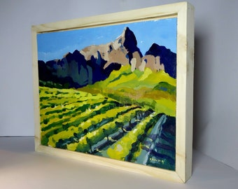 Original landscape painting done in oil with a pinewood box frame.Ships in 1 day.