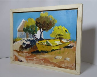 Original plein air painting done in oil with a pinewood box frame.Ships in 1 day.