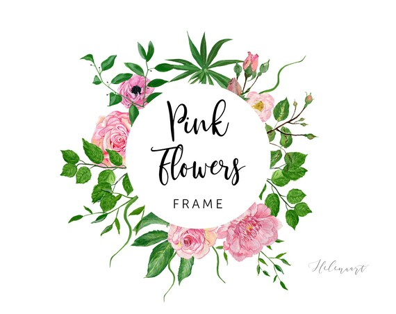 Pink Flowers Frame Peony Roses Green Leaves Floral Frame