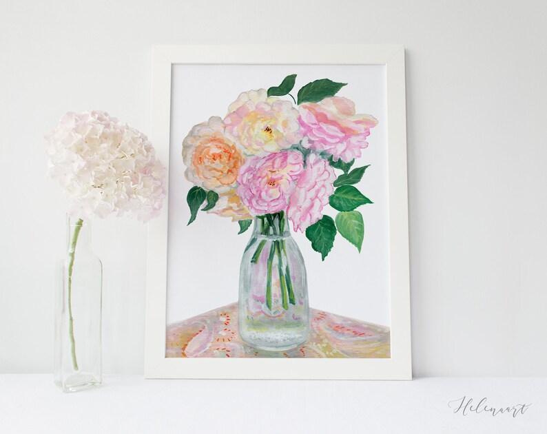 Pink Roses Bukiet Gwasz Plakat Kwiatowy Nadruk Kwiaty Dekoracje ścienne Cyfrowy Druk Roślinny Format 30x40 Cm Ilustracja Do Druku Jar