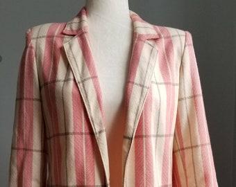 Pink Harringbone Plaid, Womens Blazer, 80s Blazer, 90s Blazer, Vintage Jacket, Checked Blazer, Blazer Vintage, Classic Blazer, Chic Blazer