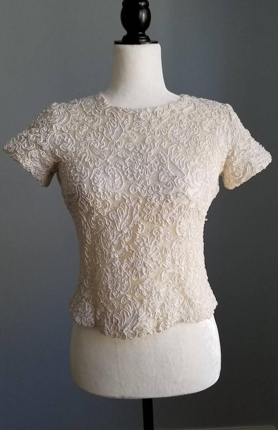 Vintage Lace Top, Bridal Crop Top, Alencon Lace To
