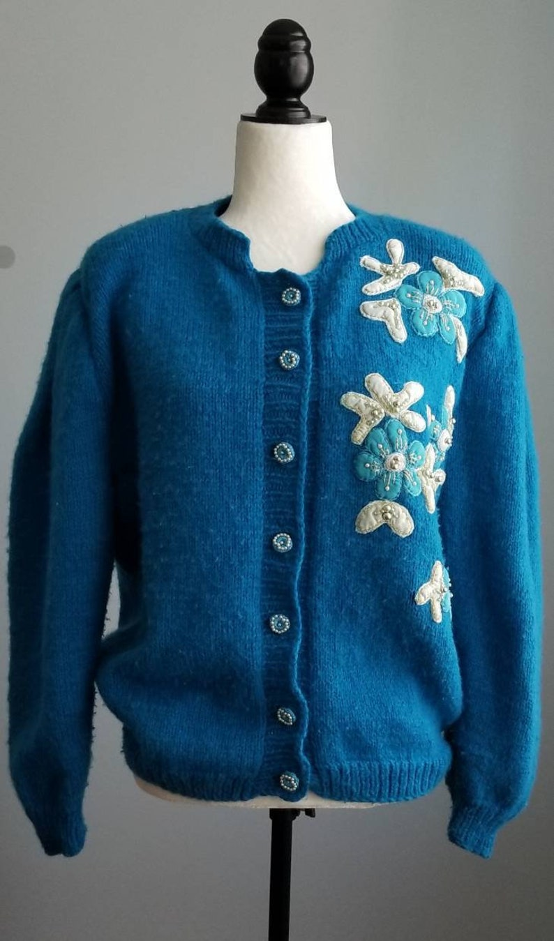 Vintage Embroidery Cardigan Embroidered Knitted Sweater  8dbccc484