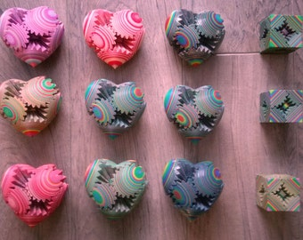 3D printed Gear Heart in multicolour, choose your design.