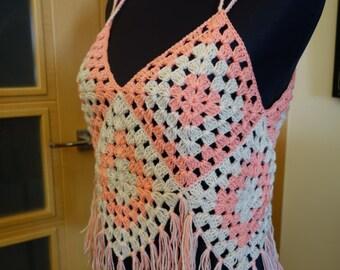 Top Crochet Granny Square, festival, hippie, boho