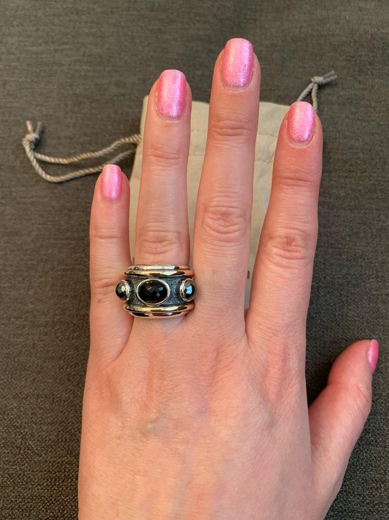 6a89261ac0b61 David Yurman Three Stone Hematite/Black Onyx Renaissance Ring 925 585 14k  Gold