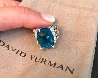 David Yurman Sterling Silver Wheaton Blue Topaz Ring 12x16mm Size 6,5