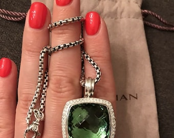David Yurman Sterling Silver Albion Pendant 20mm Prasiolite & Diamond Necklace