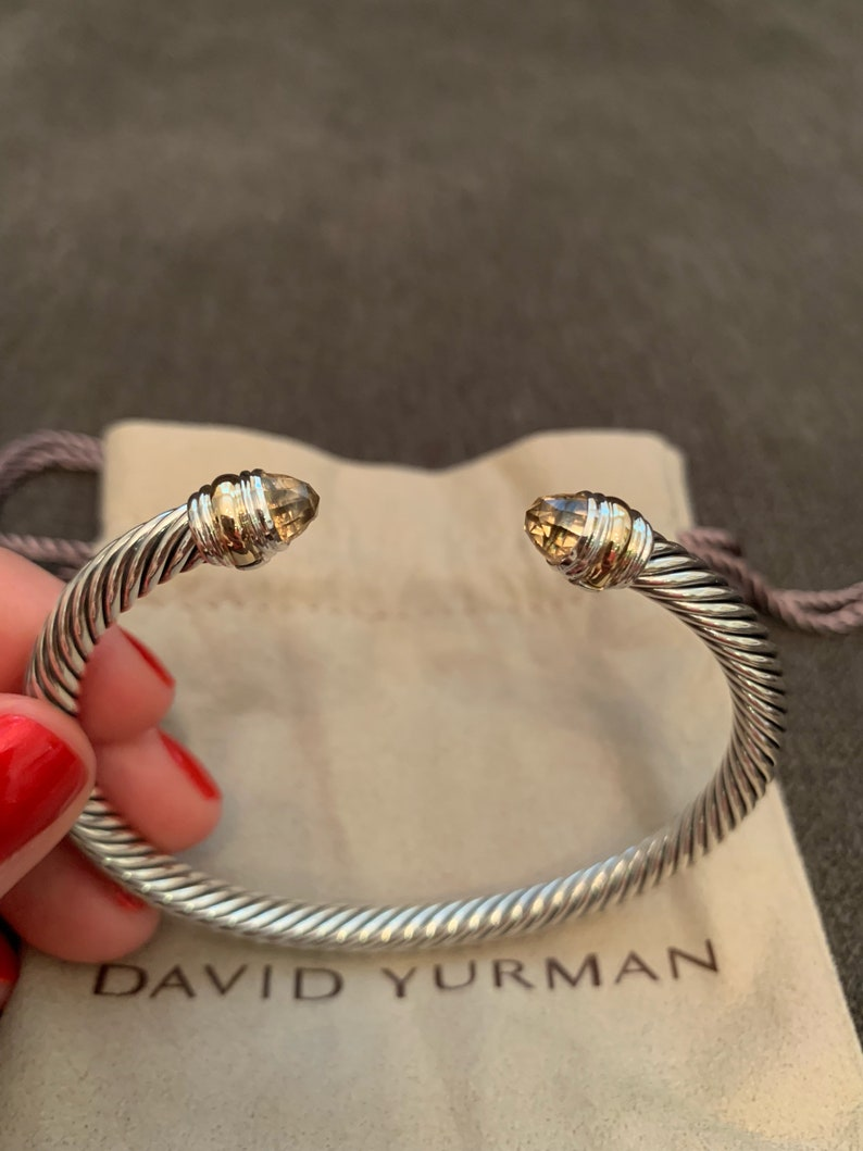 ed736544dc2bc David Yurman Cable Classic Bracelet with Morganite and 14K Gold 5mm