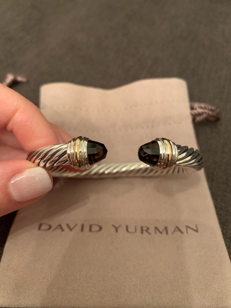 0187d276c3b549 David Yurman Cable Classics Bracelet with Smoky Quartz and 14K | Etsy
