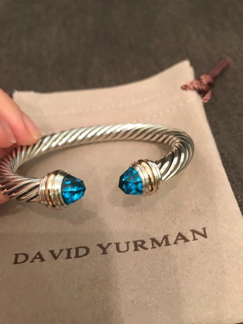 32ba1a3bf8acd1 David Yurman Cable Classics Bracelet with Blue Topaz and 14K | Etsy