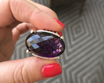 David Yurman Sterling Silver Oval Amethyst 26 x 16mm Wheaton Cuff Diamond Ring