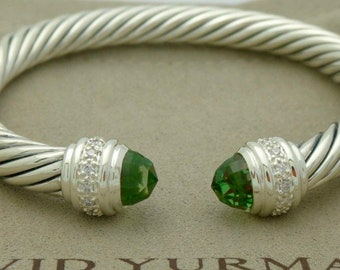 David Yurman Sterling Silver 7mm Cable Prasiolite and Diamonds Cuff Bracelet