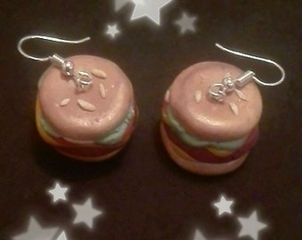 Polymer clay cheeseburger earrings