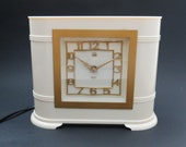 Beautiful Vintage English Art Deco Ivory Bakelite Smiths-Setric Mains Electric Clock. 1930s VGC Working. 220-250v